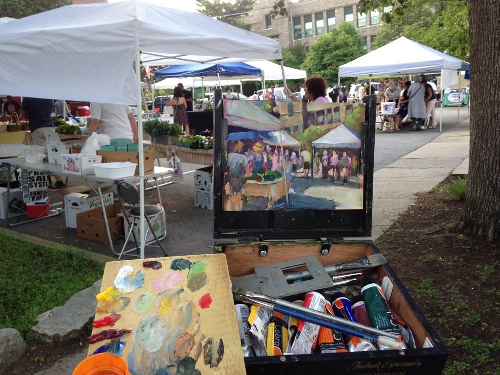 """""""Media Farmer's Market"""" original fine art by Jeanne Bruneau"""