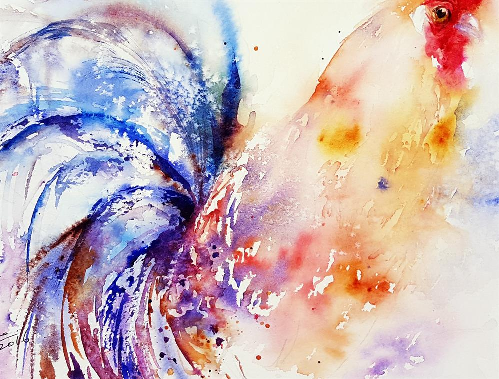 """""""Blue Tailed Rooster"""" original fine art by Arti Chauhan"""