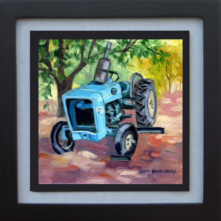 """Old Blue Tractor"" original fine art by Rhett Regina Owings"