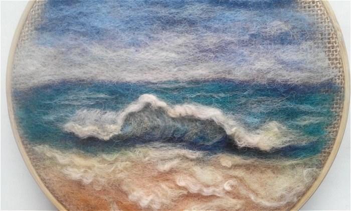 """Embroidery Hoop Art Beach"" original fine art by Camille Morgan"
