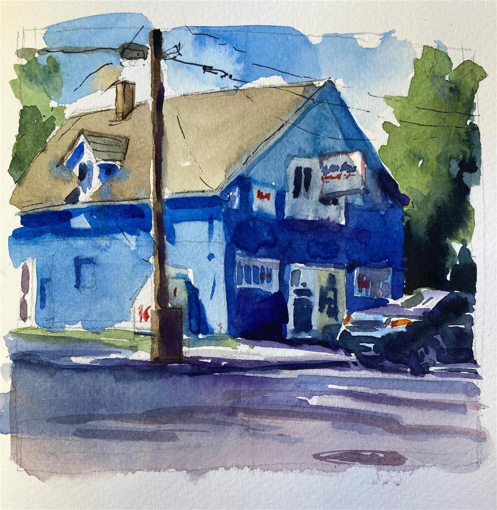 """""""Little Blue Market"""" original fine art by Marla Baggetta"""