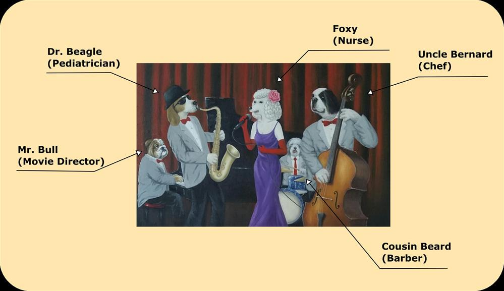 """Dr. Beagle Series - Jazz Night"" original fine art by Peter Lee"
