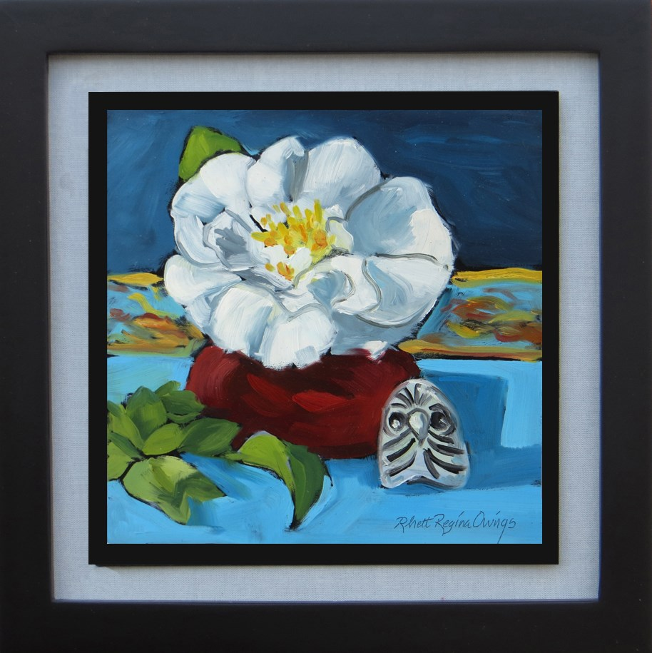 """White Camellia with Mexican Owl"" original fine art by Rhett Regina Owings"
