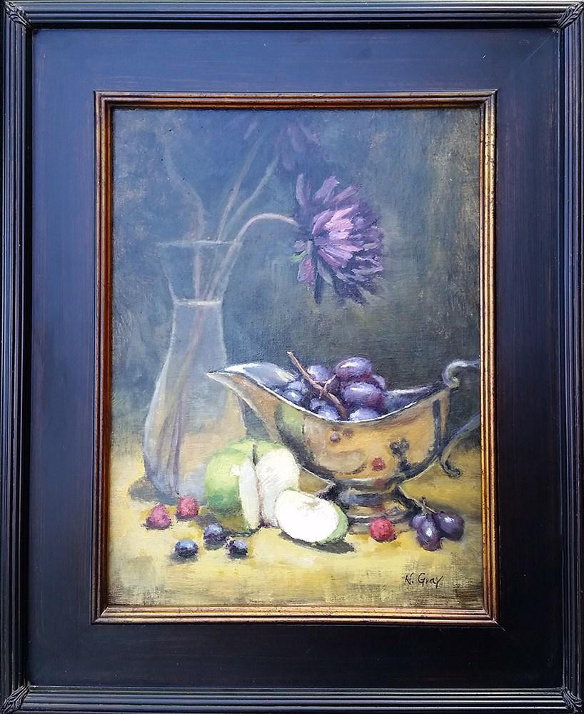 """Slice of Green Apple"" original fine art by Naomi Gray"