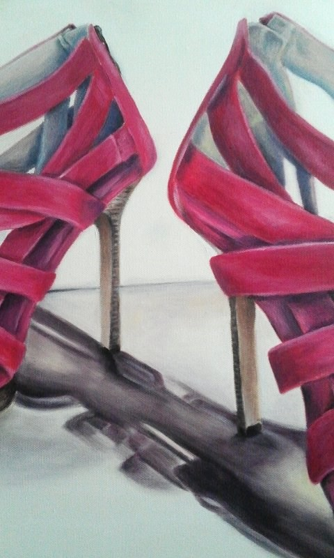 """Hot Pink Stilettos"" original fine art by Camille Morgan"