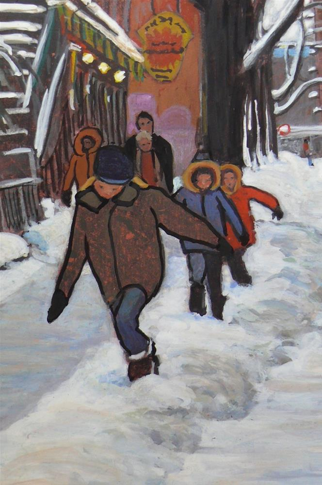 """1146 Le Plateau Kids, 8x10, egg tempera"" original fine art by Darlene Young"