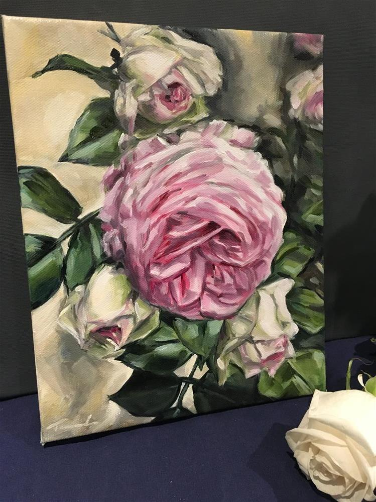 """Cabbage Rose Bloom"" original fine art by Tamanda Elia"