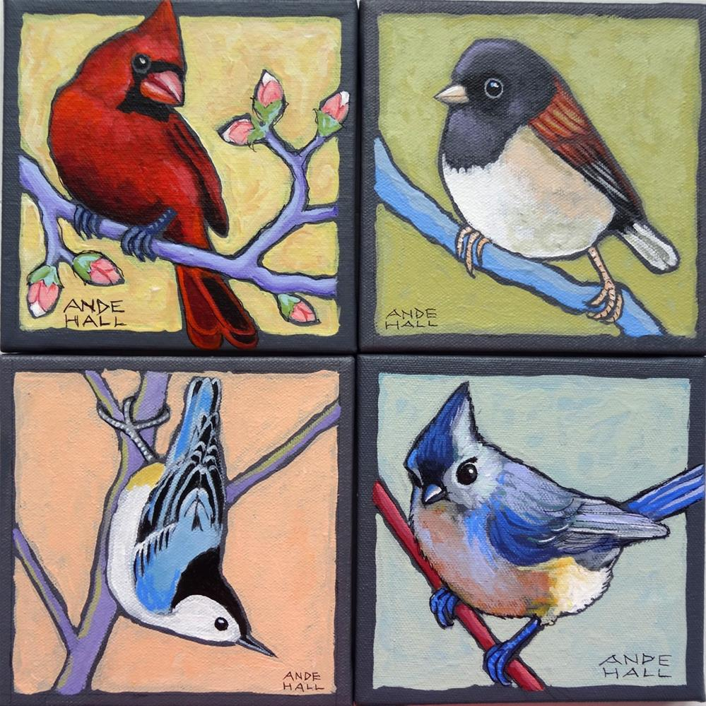 """Rebird with Buds"" original fine art by Ande Hall"