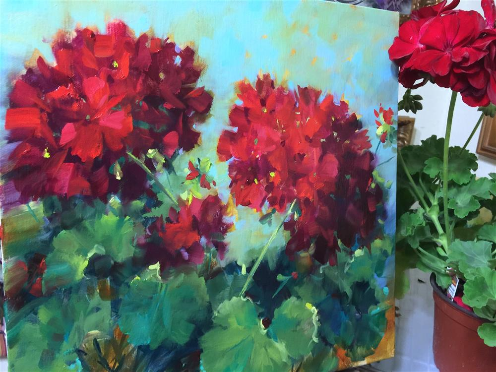 """Heart's Harmony Geraniums and Painting Brilliant Colors Is Here!"" original fine art by Nancy Medina"