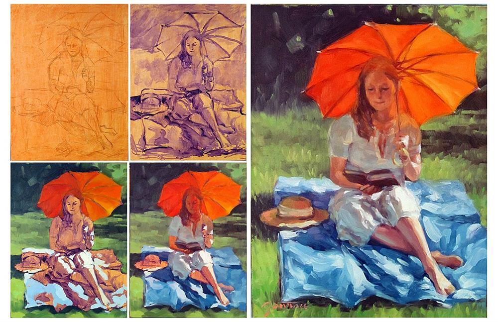 """Daily Reading--The Heather Challenge"" original fine art by Joanna Bingham"