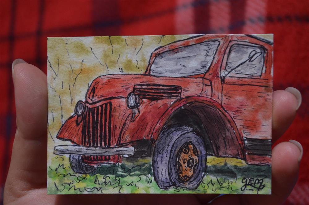 """Red Truck Watercolor Aceo"" original fine art by Gloria Ester"