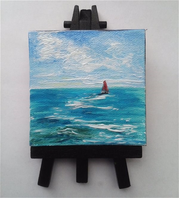 """Mini Oil Painting Seascape with Red Sailboat"" original fine art by Camille Morgan"
