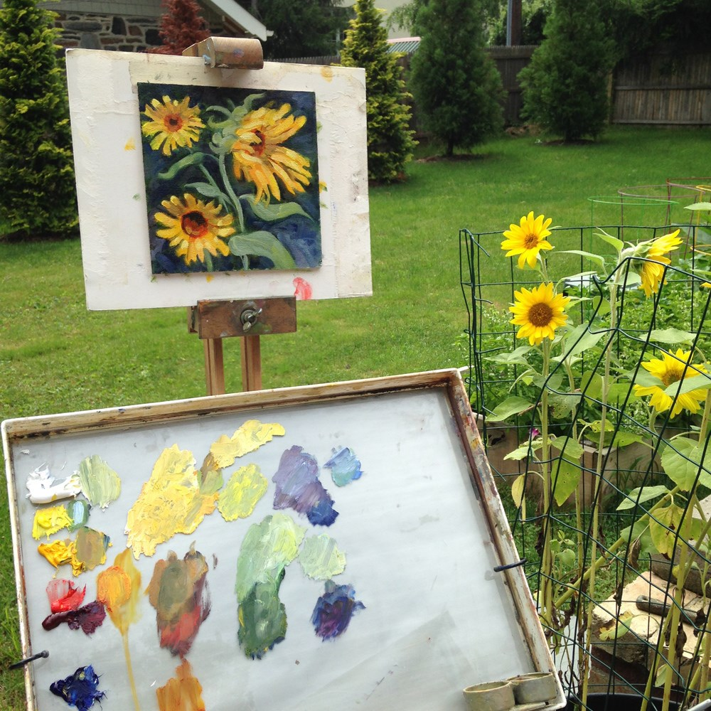 """Sunflower Shower"" original fine art by Jeanne Bruneau"