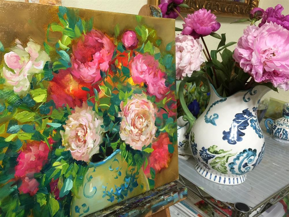 """Spring Online Earlybird Registration Closes Soon! Bloom True Peach Peonies"" original fine art by Nancy Medina"