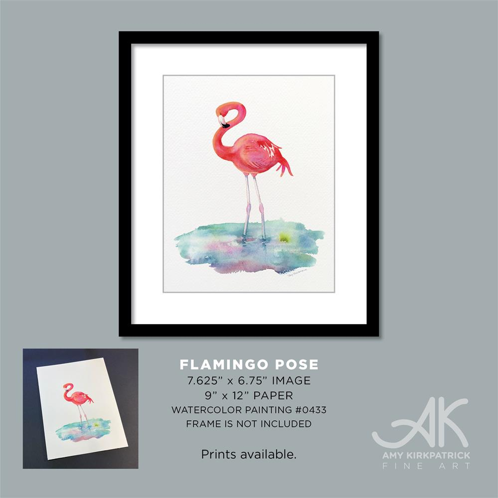 """FLAMINGO POSE #0433 (Vertical)"" original fine art by Amy Kirkpatrick"