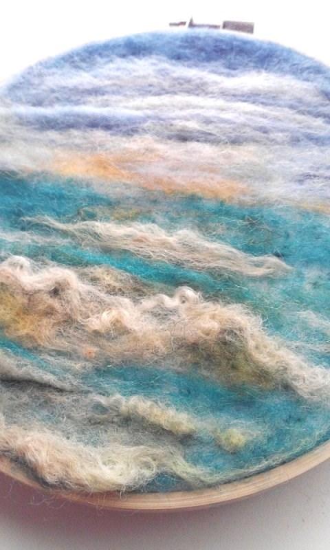 """Needle Felted Ocean"" original fine art by Camille Morgan"