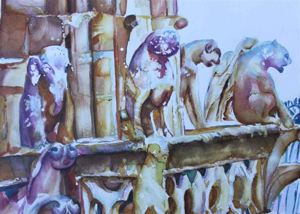 """Notre-Dame Sentinels"" original fine art by Christiane Kingsley"