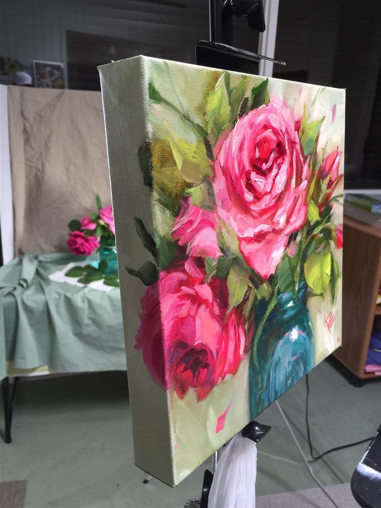 """""""Roses in vintage jar """" original fine art by Krista Eaton"""