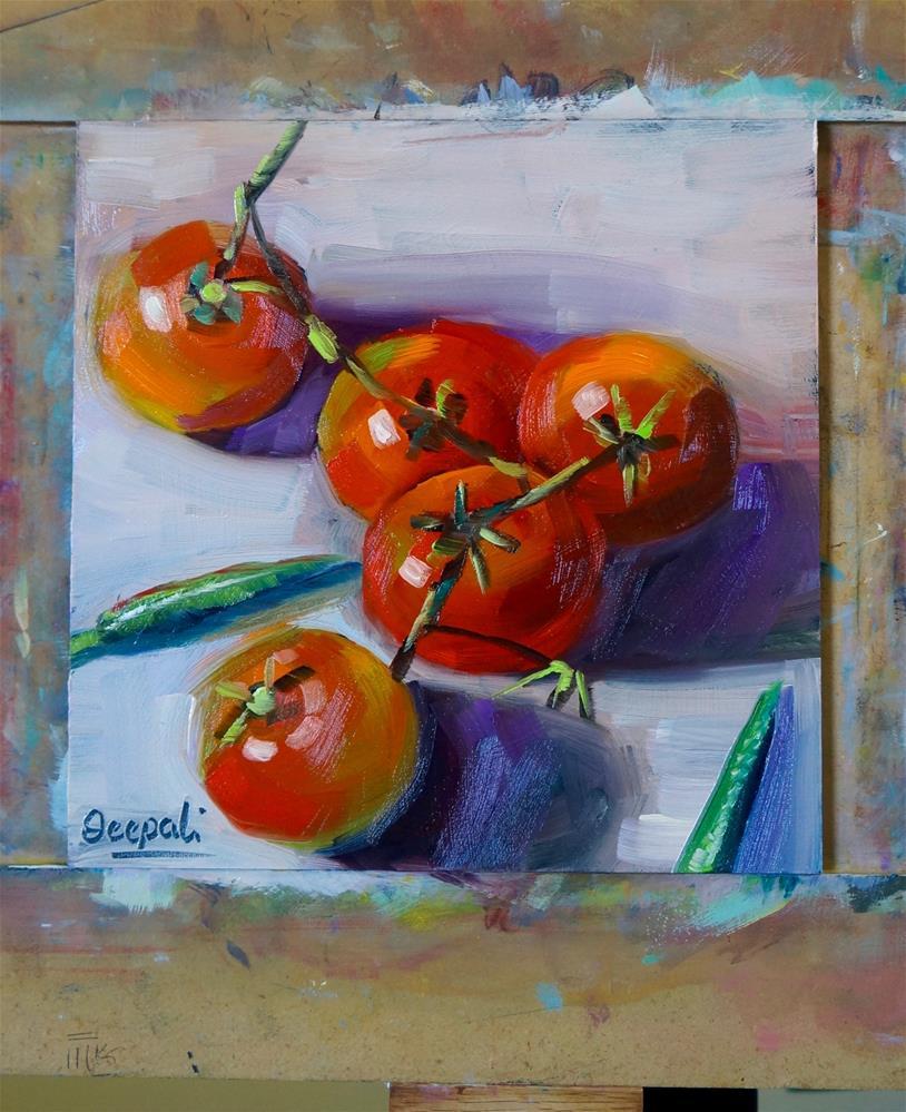 """Tomatoes and chilli"" original fine art by Dipali Rabadiya"