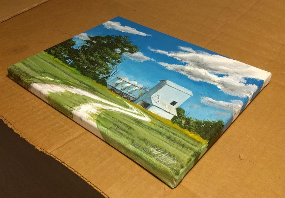 """Grain Bins and Field"" original fine art by Jeff Atnip"