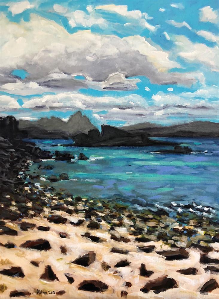 """""""Coral Beach Scotland"""" original fine art by Alina Vidulescu"""