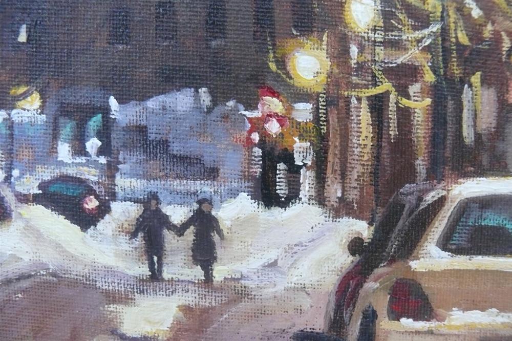 """""""Montreal Winter Scene, McGill Ghetto Night"""" original fine art by Darlene Young"""