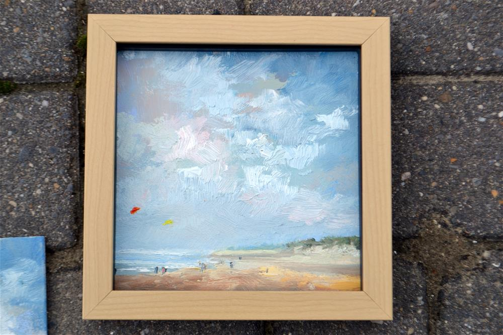 """Beach life in Zeeland July 2016 in oil"" original fine art by Wim Van De Wege"