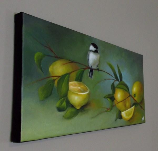 """""""Chickadee and Lemons"""" original fine art by ~ces~ Christine E. S. Code"""
