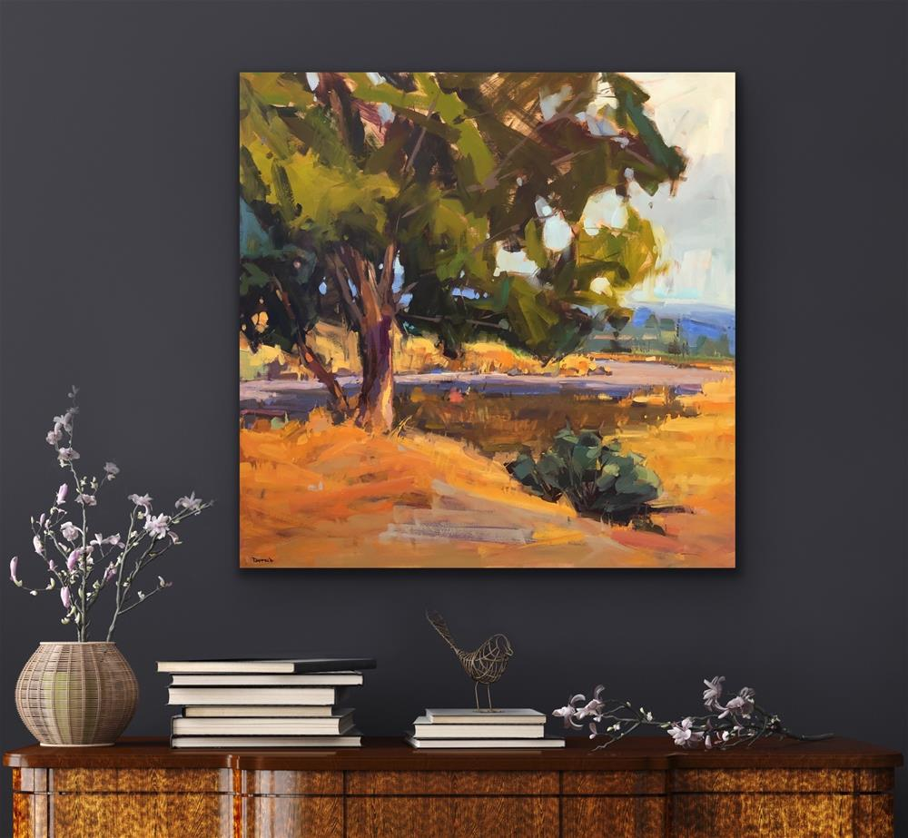 """Oaks and Rabbit Brush"" original fine art by Cathleen Rehfeld"