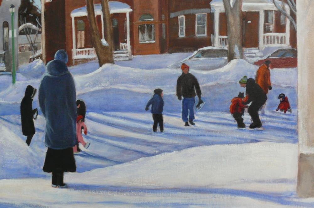 """1160 Skating at Outremont Park, 24x36, oil"" original fine art by Darlene Young"