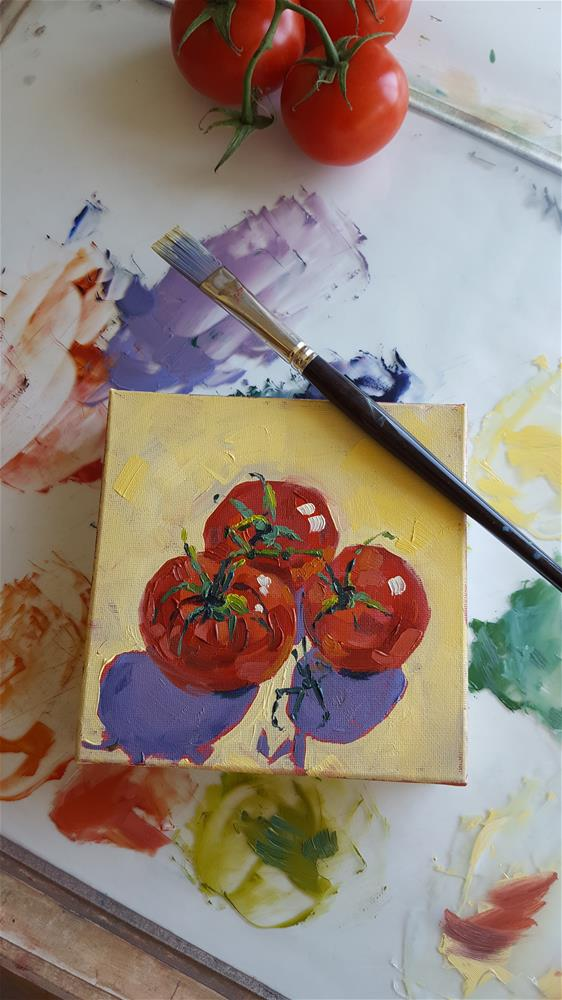 """Born Together - 3 Tomatoes"" original fine art by Bhavna Misra"