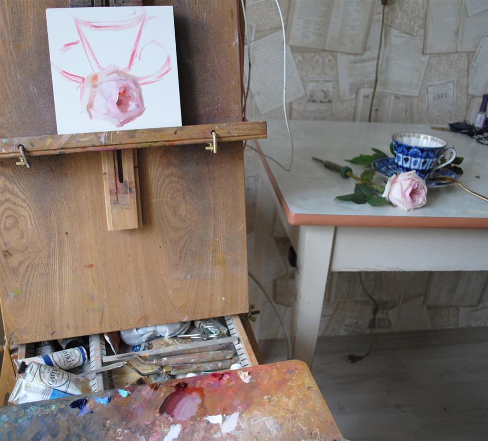 """Blue Teacup and Rose"" original fine art by Elena Katsyura"