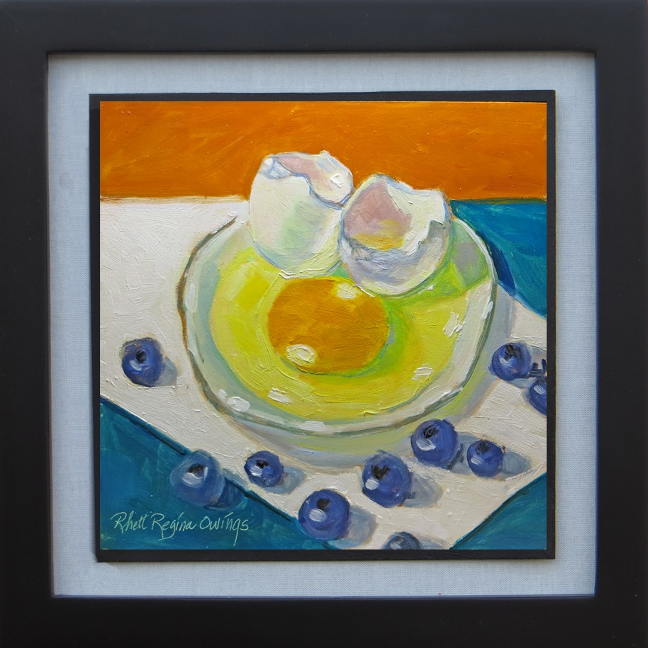 """Egg and Blueberries"" original fine art by Rhett Regina Owings"