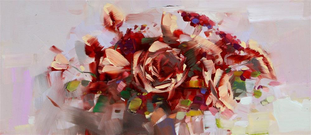 """VASE OF ROSES ORIGINAL OIL PAINTING CLASSIC ART"" original fine art by V Y"
