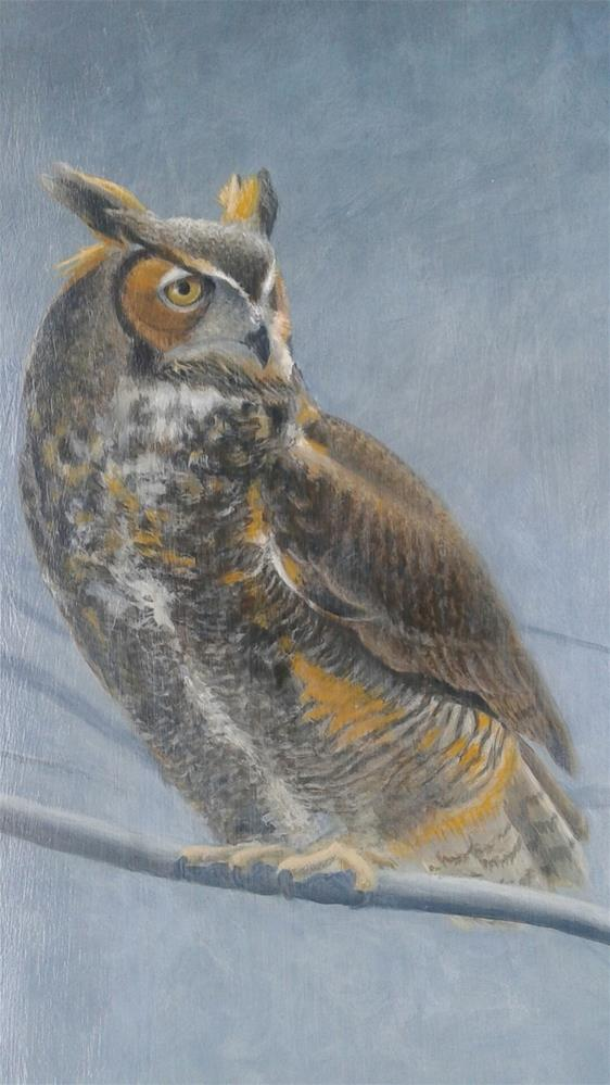 """Evening Watch, Great Horned Owl"" original fine art by Staar Caswell"