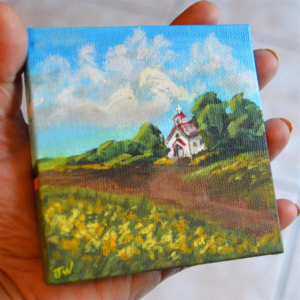 """Little Church in the Goldenrod"" original fine art by Jodi Workman"