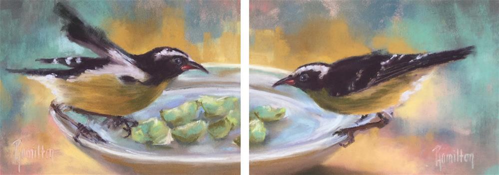 """Feathered Friends Diptych"" original fine art by Pamela Hamilton"