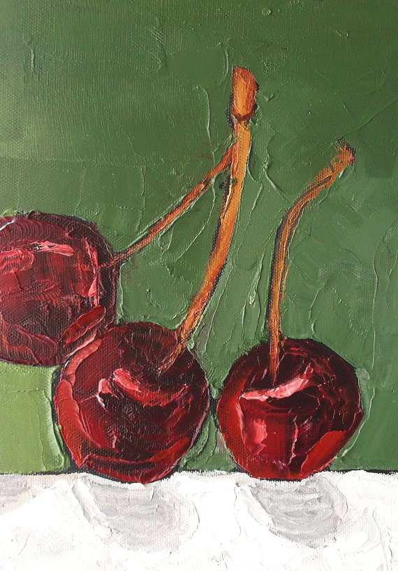 """""""Orchard Cherries"""" original fine art by lynne french"""