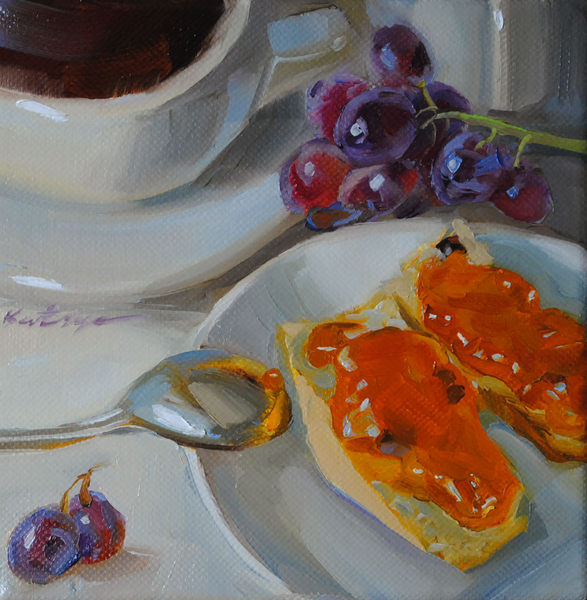 """Breakfast For Two"" original fine art by Elena Katsyura"