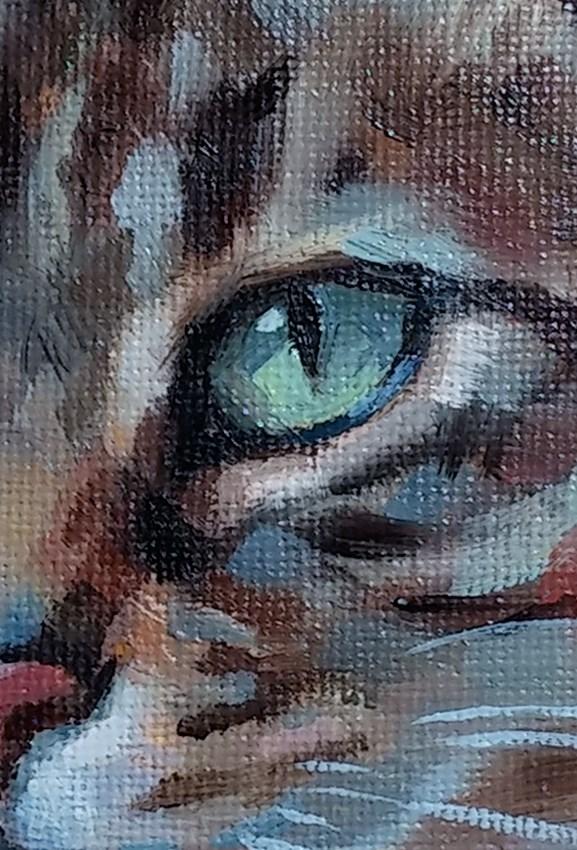 """""""Tabby in Teal"""" original fine art by J. Dunster"""