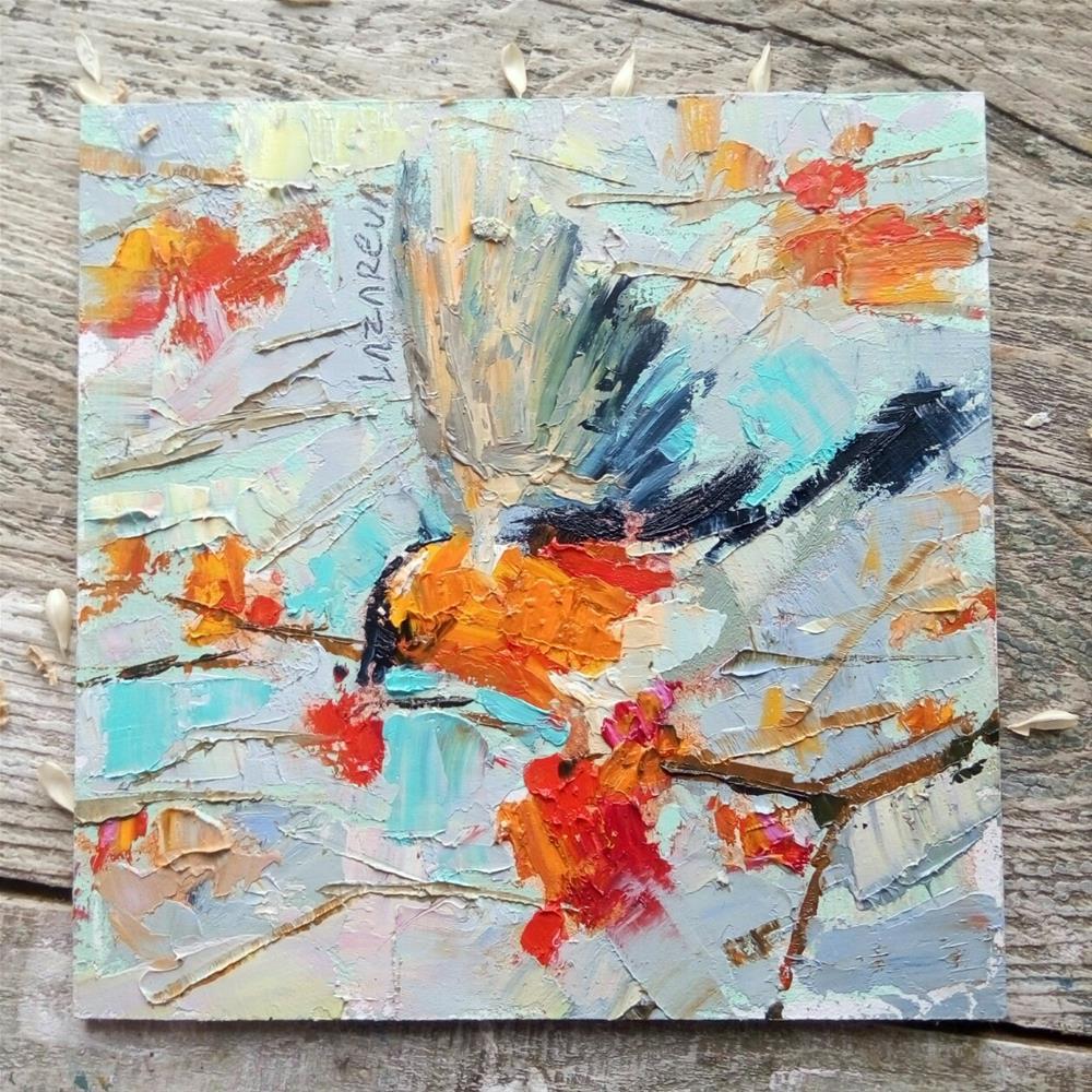 """""""Bullfinch bird"""" original fine art by Valerie Lazareva"""