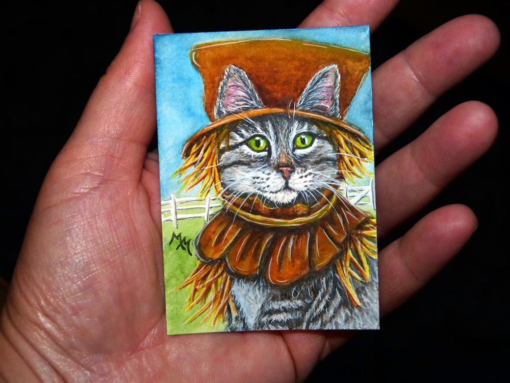 """""""Scarecrow Tabby"""" original fine art by Monique Morin Matson"""