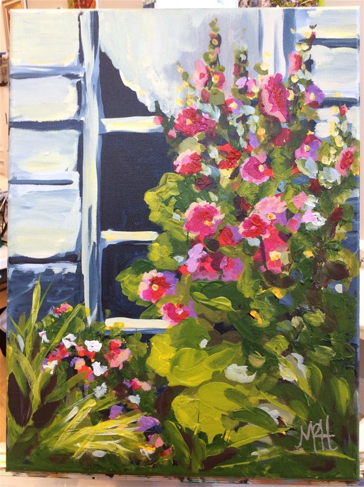 """Mackinac Hollyhocks"" original fine art by Molly Rohrscheib Hathaway"
