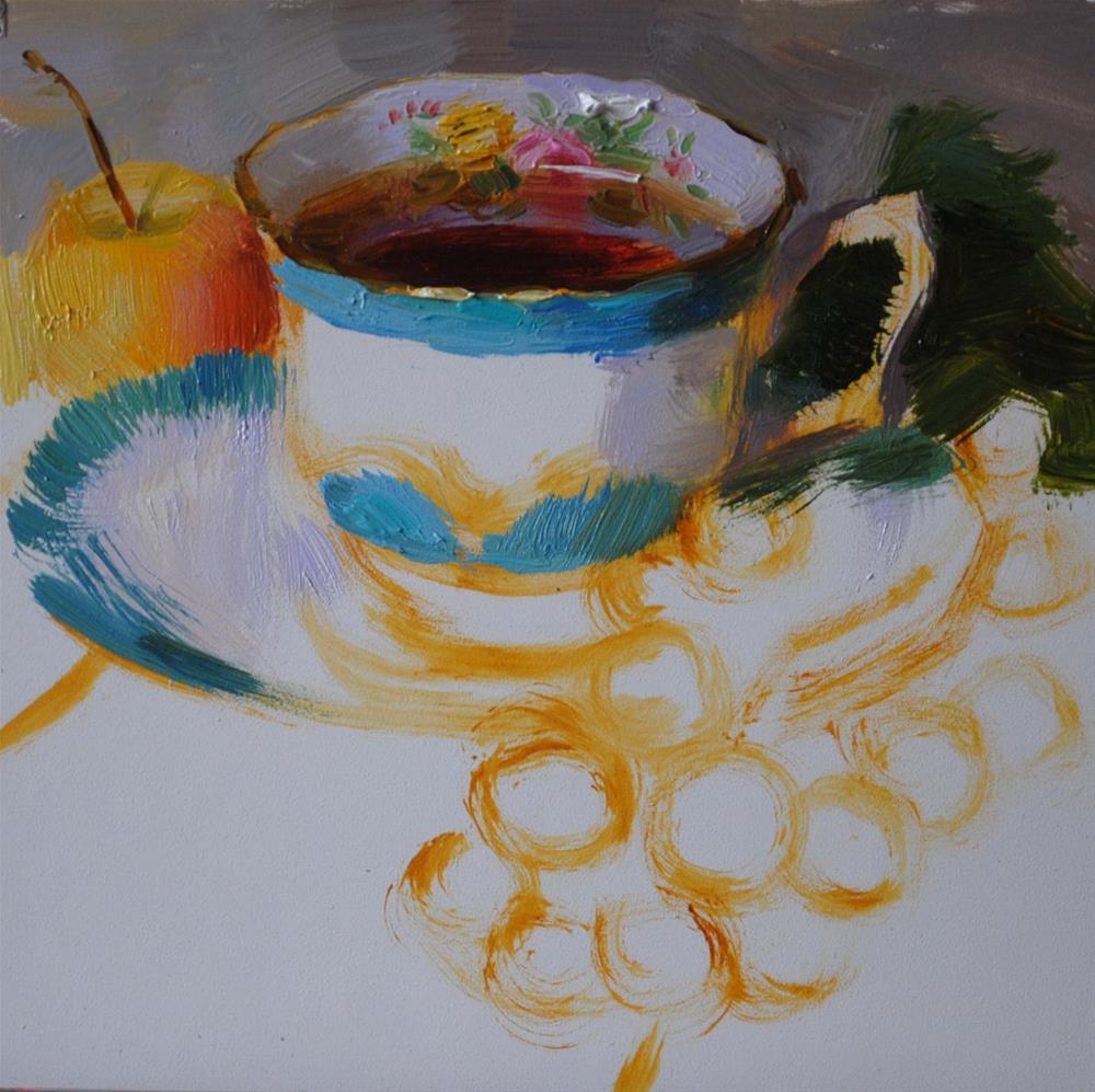 """Tea, Grapes and Apple"" original fine art by Elena Katsyura"