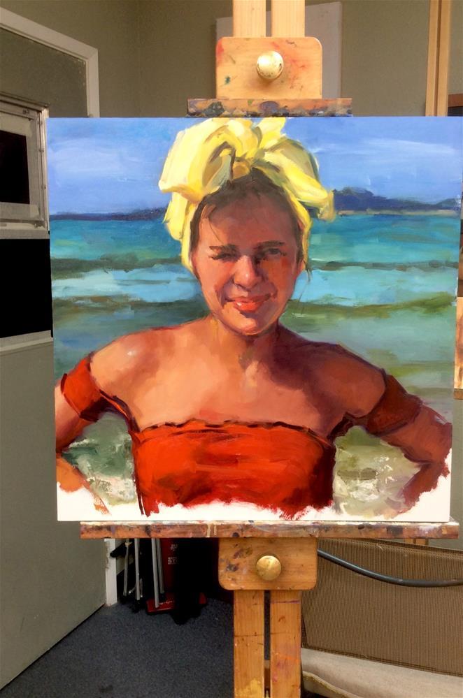 """""""Ocean Frolic in a Yellow Bandana"""" original fine art by Laurie Johnson Lepkowska"""
