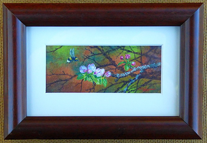"""""""""""Apple Blossoms and Bee"""""""" original fine art by Steven Thor Johanneson"""