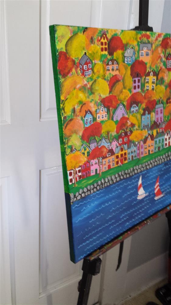 """Funky Houses in Autumn Trees"" original fine art by Karleen Kareem"