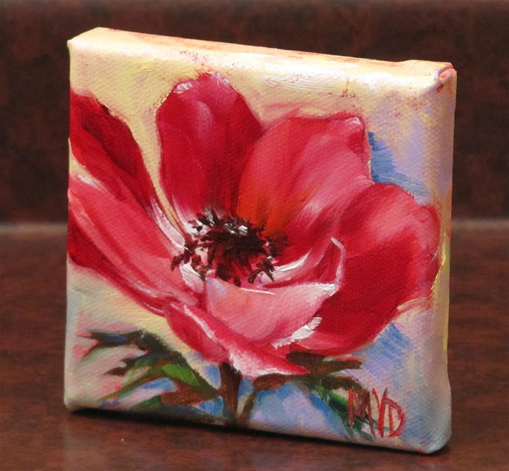 """Red Anemone"" original fine art by Mary Van Deman"