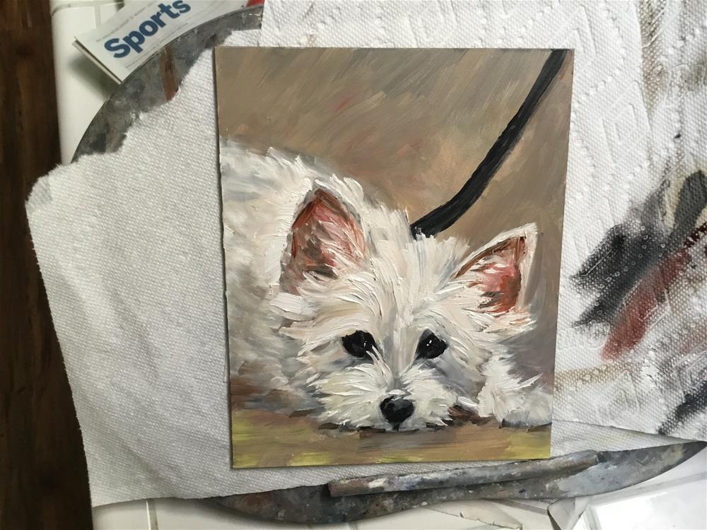 """""""Black leash / White puppy"""" original fine art by Annette Balesteri"""