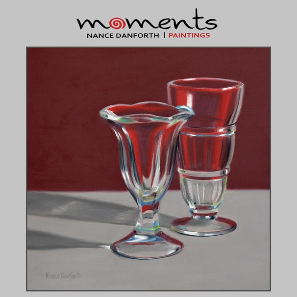 """Malt and Sundae Glasses on Red"" original fine art by Nance Danforth"